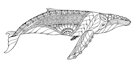 Zentangle stylized humpback whale. Vector, illustration, freehand pencil, pattern. Zen art. Black and white illustration on white background. Adult anti-stress coloring book. Print for t-shirts. 矢量图像