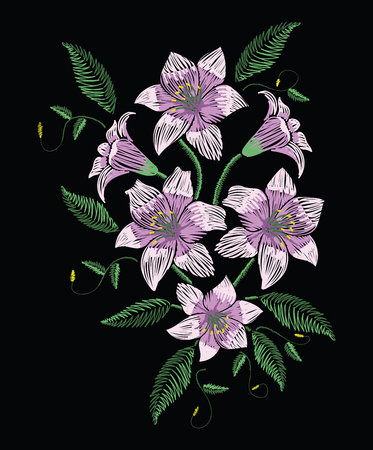 Embroidery stitches with violet easter lily flowers with green leaves in pastel color. Vector fashion ornament on black background for traditional floral decoration. Pattern for textile and fabrics. Print for textile.