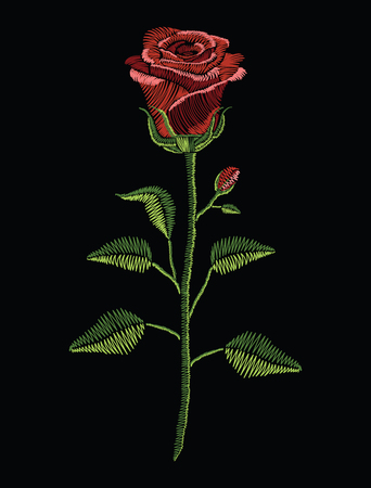 Embroidery stitches with red rose and green leaves in pastel color. Vector fashion ornament on black background for traditional floral decoration. Pattern for textile and fabrics. Print for textile. 矢量图像
