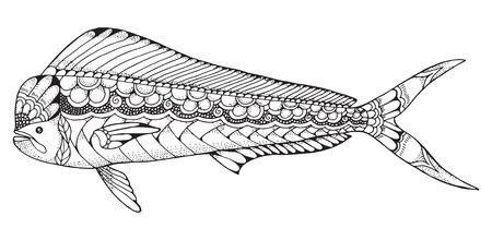 Dorado mahi mahi fish zentangle and stippled stylized vector illustration. Pattern. Zen art. Black and white illustration on white background. Adult anti-stress coloring book. Print for t-shirts.