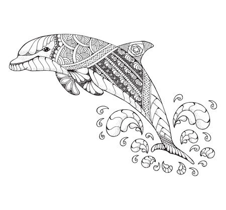 Bottlenose dolphin jumping high with splash. Zentangle and stippled stylized vector illustration. Black and white illustration on white background. Adult anti-stress coloring book.