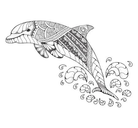 Zentangle Y Estilizado Gran Tiburón Blanco Estilizado. Vector ...