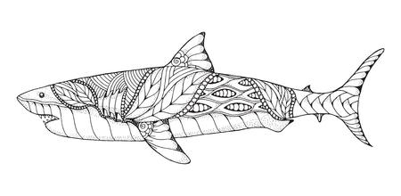 Zentangle と点描の様式化された偉大な白いサメ。ベクトル, イラスト, パターン。禅芸術。白い背景の黒と白のイラスト。アダルト抗ストレスの塗り絵  イラスト・ベクター素材