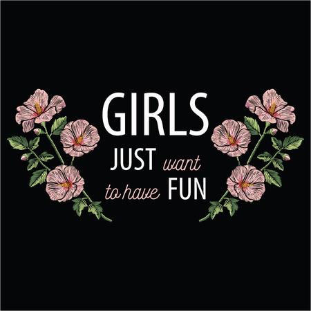 Points de broderie avec des fleurs d'hibiscus roses et slogan girls veulent juste s'amuser en couleur pastel Ornement de mode vecteur sur fond noir pour la décoration florale. Modèle pour textil. Imprimer pour les tissus. Banque d'images - 82073093