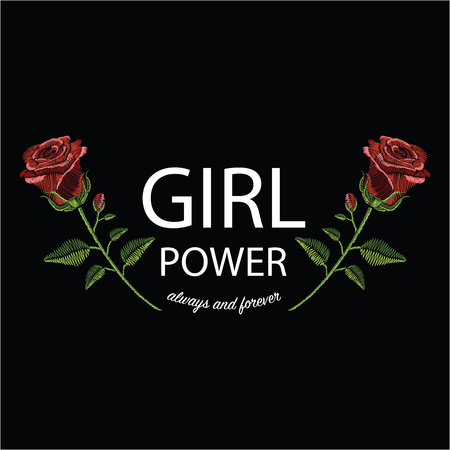 Embroidery stitches with red rose and slogan girl power always and forever in pastel color. Vector fashion ornament on black background for floral decoration. Pattern for textile. Print for fabrics. 矢量图像