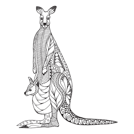 Kangaroo mother and baby joey zentangle stylized. Vector, illustration, pattern. Zen art. Black and white illustration on white background. Adult anti-stress coloring book. Print for t-shirts.