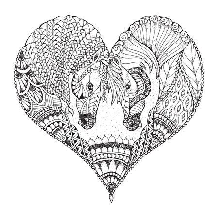 Two horses showing affection in a heart shape. Zentangle and stippled stylized vector illustration. Pattern. Black and white illustration on white background. Adult anti-stress coloring book. Print for t-shirts.