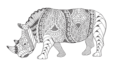 Rhino animal zentangle stylized. Rhinoceros vector, illustration, pattern. Zen art. Black and white illustration on white background. Adult anti-stress coloring book. print for t-shirts.