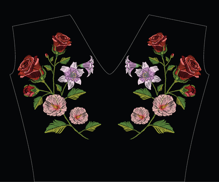Embroidery stitches with hibiscus, rose and lily in pastel colors. Vector fashion ornament illustration on black background for floral decoration. Pattern for textile. Print for fabrics and t-shirts.