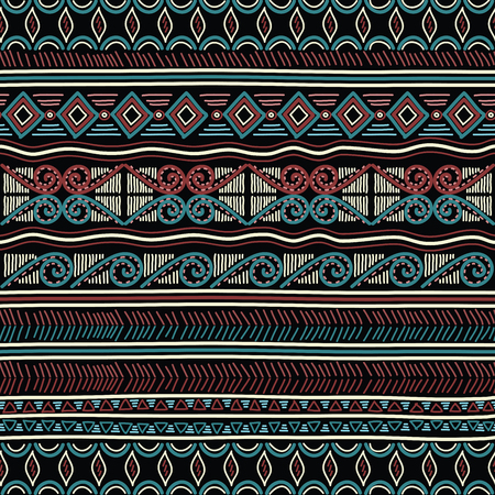 Geometric ethnic oriental seamless pattern. Hand doodled traditional design for carpet, wallpaper, textile and fabric. Embroidery stylized vector illustration. Print for clothing.