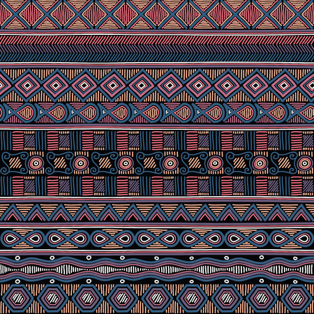 doodled: Geometric ethnic oriental seamless pattern. Hand doodled traditional design for carpet, wallpaper, textile and fabric. Embroidery stylized vector illustration. Print for clothing.