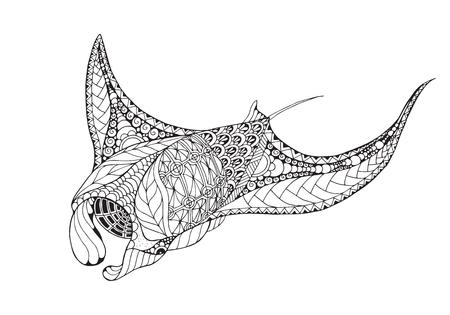 Zentangle estilizado manta ray, mobula, diablo pescado. Vector, ilustración, lápiz a pulso, patrón. Foto de archivo - 82162926