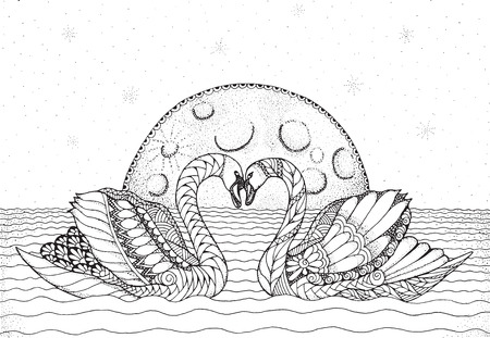 Two swans on water with moon and stars in background. Heart shape. Zentangle and stippled stylized vector illustration. Zen art. Adult anti-stress coloring book. Print for books.