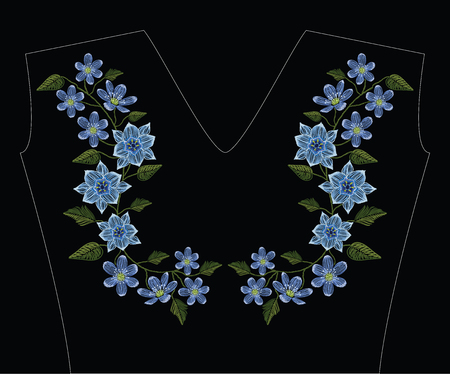 Embroidery stitches with tulipa humilis and hepatica flower in pastel color. Vector fashion ornament on black background for traditional floral decoration. Pattern for textile and fabrics. Print for textile. 矢量图像