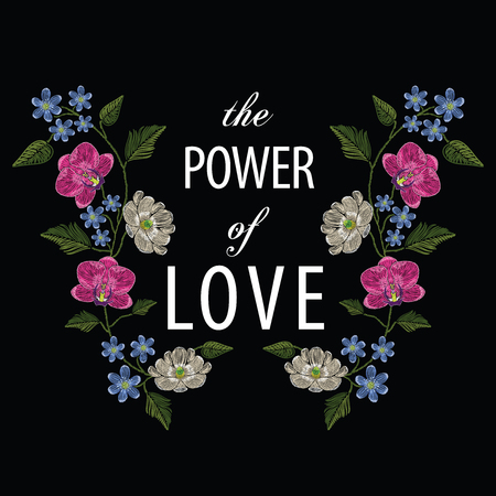 Embroidery stitches with orchid, magnolia, hepatica flower and text the power of love. Decoupage. Vector fashion ornament on black background for traditional floral decoration. Pattern for textile and fabrics. Print for textile. 矢量图像