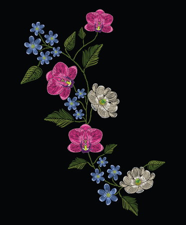 Embroidery stitches with orchid, magnolia and hepatica flower.. Decoupage. Vector fashion ornament on black background for traditional floral decoration. Pattern for textile and fabrics. Print for textile.