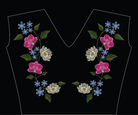 Embroidery stitches with orchid, magnolia and hepatica flower. Decoupage. Vector fashion ornament on black background for traditional floral decoration. Pattern for textile and fabrics. Print for textile. 矢量图像