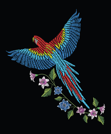Macaw ara parrot with narcissus, tulip anfd lily flower. Embroidery stitches stylized vector illustration. Traditional floral pattern for textile. Print for fabrics.