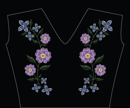 Embroidery stitches with primarose primula vulgaris and lilac flower.. Vector fashion ornament on black background for traditional floral decoration. Pattern for textile and fabrics. Print for textile.