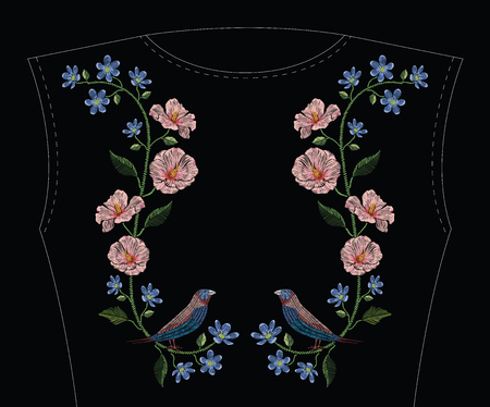 Embroidery stitches with hibiscus, hepatica flower and gouldian finch bird. Vector fashion ornament on black background for traditional floral decoration. Pattern for textile and fabrics. Print for textile.