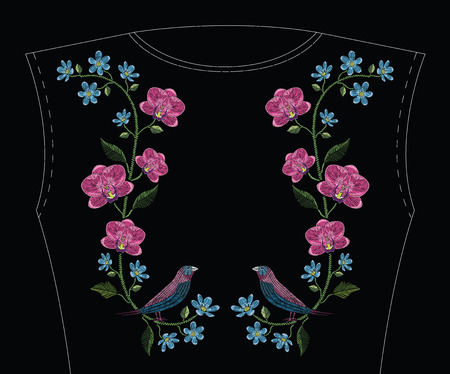 Embroidery stitches with orchid, hepatica flower and gouldian finch bird. Vector fashion ornament on black background for traditional floral decoration. Pattern for textile and fabrics. Print for textile.
