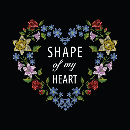 Embroidery stitches with hibiscus, rose, lily and hepatica flower making heart shape. Vector fashion ornament on black background for floral decoration. Pattern for textile. Print for fabrics.