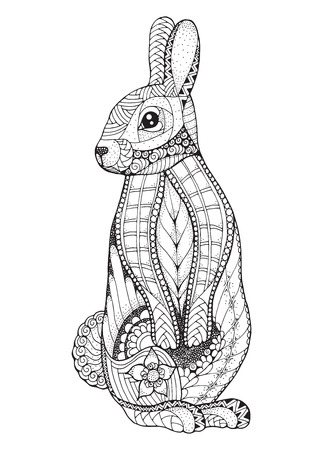 Rabbit standing. Zentangled and stippled vector illustration. Anti stress coloring book for adult and kids. Pattern. Print for t-shirts and for tattoo idea. 矢量图像