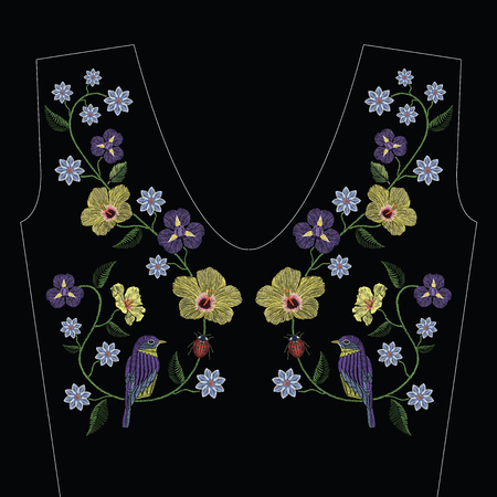 Embroidery stitches with hibiscus, iris flower, bird and ladybird. Vector fashion ornament on black background for traditional floral decoration. Pattern for textile and fabrics. Print for textile.
