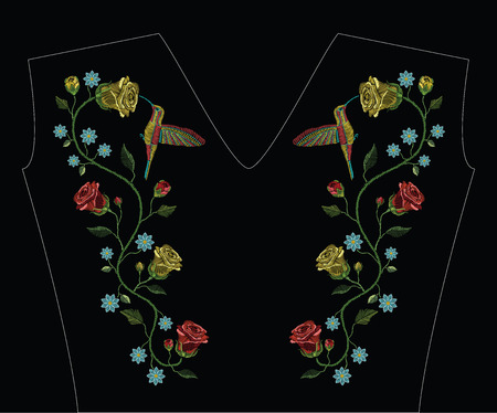 Embroidery stitches with humming bird, colibri bird flying, red and yellow roses. Vector fashion ornament on black background for traditional floral decoration. Pattern for textile and fabrics. Print for textile. 矢量图像