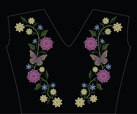 Embroidery stitches with dahlia, hepatica flower and butterflies in pastel color. Vector fashion ornament on black background for traditional floral decoration. Pattern for textile and fabrics. Print for textile. 矢量图像