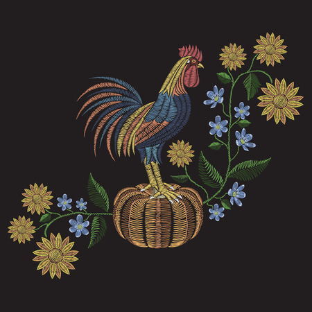 Rooster standing on pumpkin, sunflowers and hepatica flower embroidery stitches. Vector fashion ornament on black background for fabric traditional folk floral decoration. Pattern for textile. Print for fabrics. 矢量图像