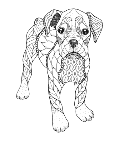 Boxer dog in stipple style. Vector illustration. Anti stress coloring book for adults and kids. Print for t-shirts.