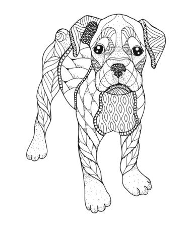 Perro Boxer en estilo punteado. Ilustración vectorial Libro para colorear antiestrés para adultos y niños. Imprimir para camisetas. Ilustración de vector