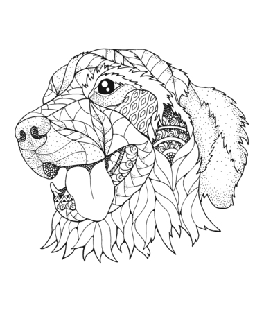 Golden retriever dog in stipple style.