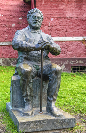 bronze statue of alexandre dumas in poti, georgia, Stock Photo