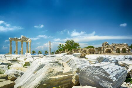 corinthian column: view of ruins the ancient greek tample of Apollon in Side