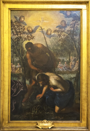Original painting of Domenico Tintoretto Baptism of Crist photo taken on 13th June 2017. Capitolium Museum, Rome, Italy.