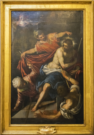 Original painting of Domenico Tintoretto incorazione di spine. photo taken on 13th June 2017. Capitolium Museum, Rome, Italy.