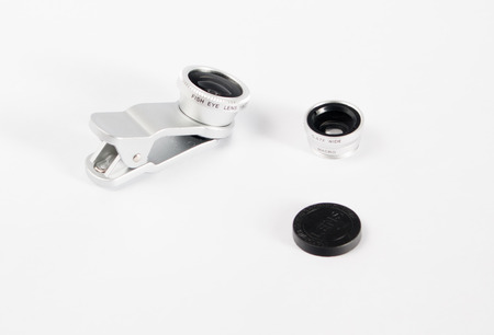 Fisheye macro set voor mobiele telefoon witte achtergrond