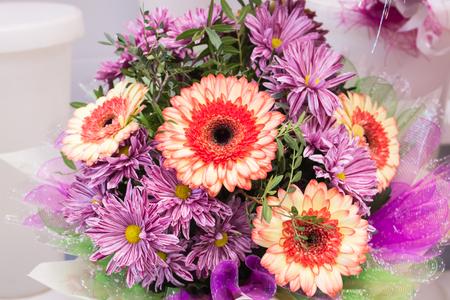 bouquet of large fresh orange gerbera chamomile and pink chrysanthemums closeup