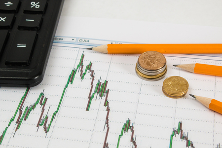 Dow Jones Business chart with calculator, coins and pencil indicates maximum