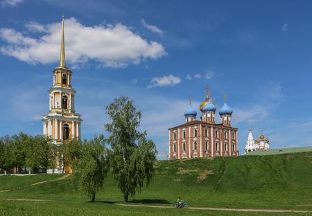 beautiful Russian sights Kremlin and Bell tower. Stock Photo