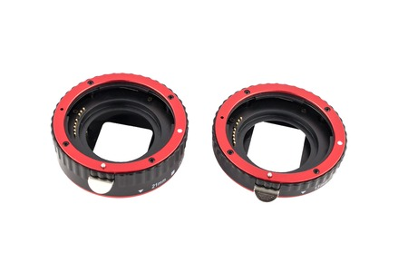 clop: Set of macro rings for SLR cameras on a white background isolated