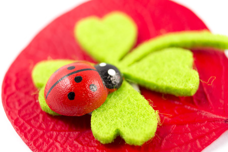 quarterfoil: ladybird on green quarterfoil Stock Photo