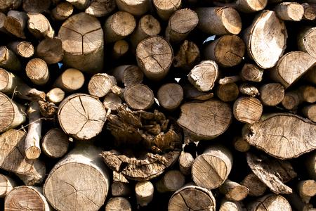 wood flattened into neat stacks photo