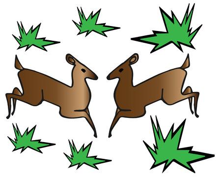 roe: silhouette of the sketch of roe deer