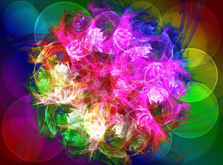 Shiny colorful fractal mandala, digital artwork photo