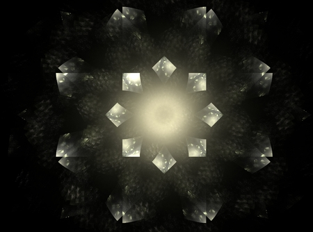 interconnected: Abstract fractal silver background with pillars and circles interconnected