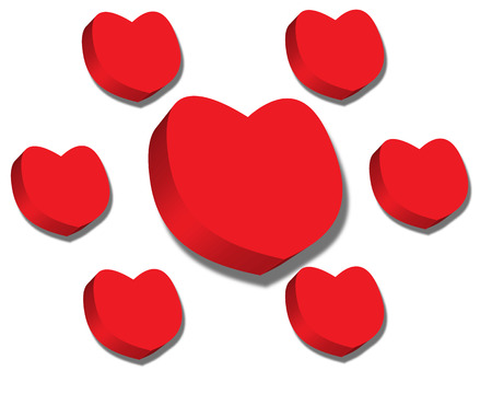 Red hearts Valentines day on white background Vector