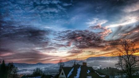 sunset in mountain photo